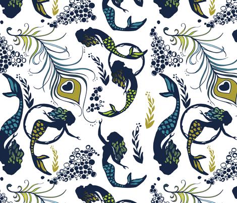 mermaid feathers fabric by mintedtulip on Spoonflower - custom fabric