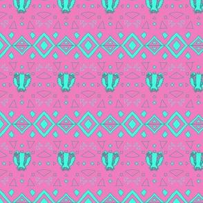 Bright Mint Geometric Badger Face Native Tribal Design