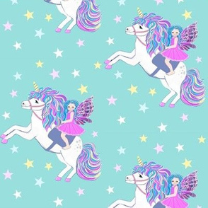 unicorn and fairy pastel with stars // kawaii