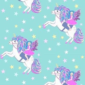unicorn and fairy pastel with stars // kawaii