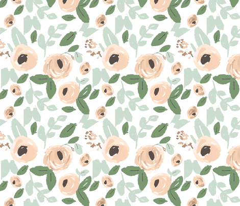 Nude, Peach and green Watercolor Flowers fabric by prettybeautifuldesign on Spoonflower - custom fabric