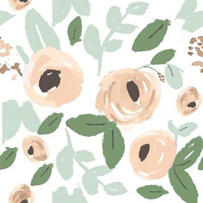 Nude, Peach and green Watercolor Flowers