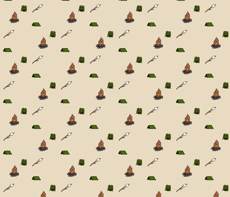Camping in the Woods on Tan fabric by hejamieson on Spoonflower - custom fabric