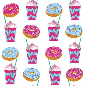 unicorn iced coffee design donuts and coffees brights white