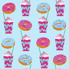 unicorn iced coffee design donuts and coffees brights blue