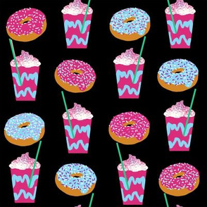 unicorn iced coffee design donuts and coffees brights black