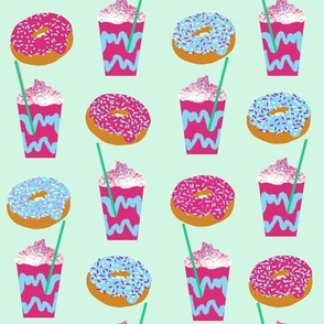 unicorn iced coffee design donuts and coffees brights mint