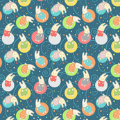 Seamless pattern with cute bunny rabbits