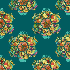 HEXIES ABSTRACT FLOWERS EMERALD TEAL GREEN SUMMER