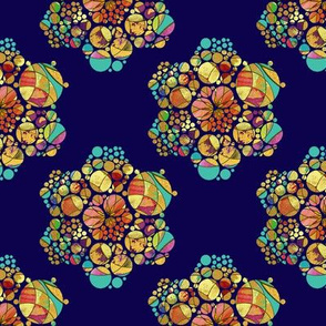HEXIES ABSTRACT FLOWERS ON NAVY BLUE