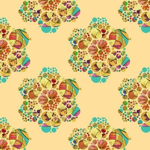 HEXIES ABSTRACT FLOWERS ON CORN YELLOW SPRING SUMMER
