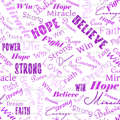 Cancer Positive Words - Purples