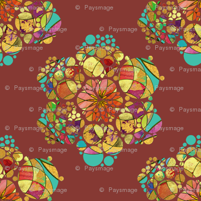 HEXIES ABSTRACT FLOWERS CHESTNUT CHOCOLATE BROWN AUTUMN