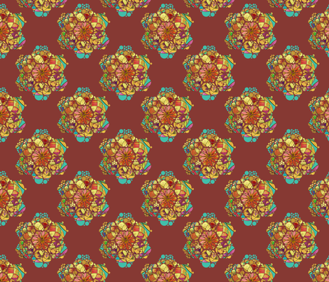 HEXIES ABSTRACT FLOWERS CHESTNUT CHOCOLATE BROWN AUTUMN fabric by paysmage on Spoonflower - custom fabric