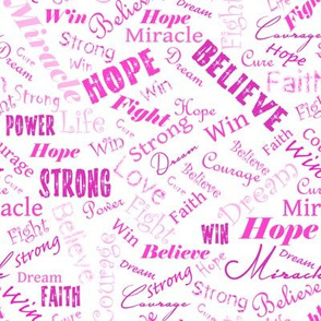 Cancer Positive Words - Pinks