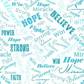Cancer Positive Words - Teals