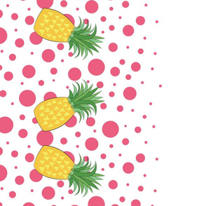 Pineapple Pink Dots Double Border 42in