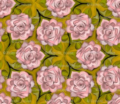 Painterly Mauve Roses In Trefoil Arrangement