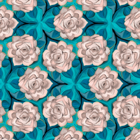 Painterly White Roses on Blue In Trefoil Arrangement fabric by eclectic_house on Spoonflower - custom fabric
