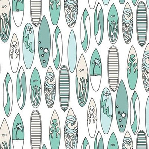Nautical Surf Board Ocean Water Summer Beach Mint Cream