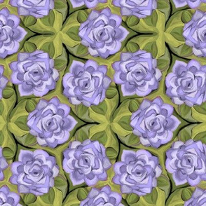 Painterly Lavender Roses in Trefoil Arrangement
