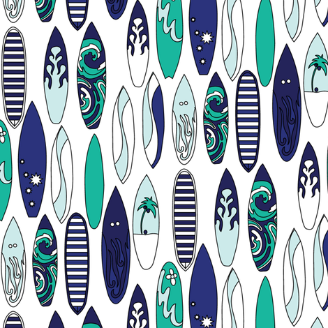 Nautical Surf Board Sea Glass  Green Blue Beach Water Summer Vacation_Miss Chiff Designs fabric by misschiffdesigns on Spoonflower - custom fabric