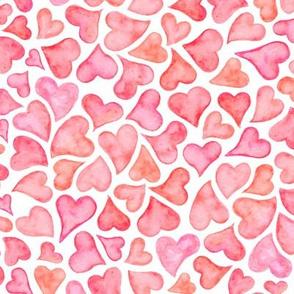 Watercolor Hearts in Pink
