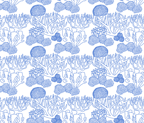Coral (mid blue on white) fabric by chiral on Spoonflower - custom fabric