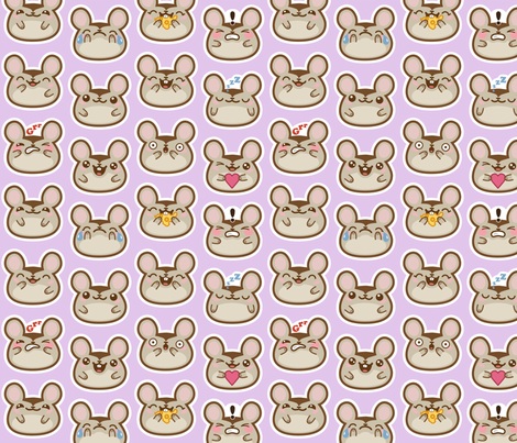 emoji_mice_purple fabric by woodmouse&bobbit on Spoonflower - custom fabric