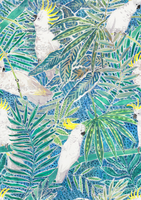 Cockatoos in tropical palm trees Watercolor