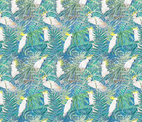 Cockatoos in tropical palm trees Watercolor fabric by rebecca_reck_art on Spoonflower - custom fabric