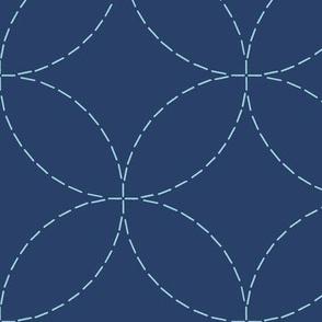 XL faux sashiko circles on navy
