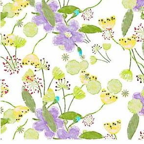 seamless pattern water colour wild flower