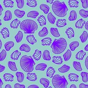 Seashells (light purple on light teal)