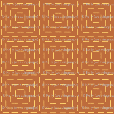 XL faux sashiko squares in gold on copper