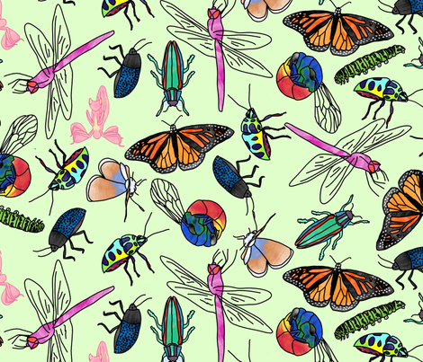 Insect Watercolor (green) fabric by chiral on Spoonflower - custom fabric