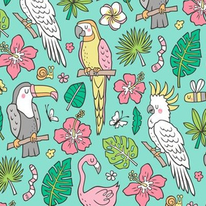 Summer Tropical Jungle Birds Toucan Flamingo and Hibiscus Floral Flowers Leaves Paradise  Mint Green