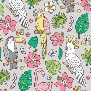 Summer Tropical Jungle Birds Toucan Flamingo and Hibiscus Floral Flowers Leaves Paradise  on Grey