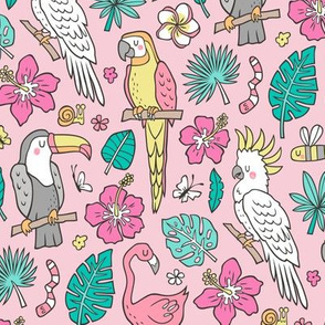 Summer Tropical Jungle Birds Toucan Flamingo and Hibiscus Floral Flowers Leaves Paradise on Pink