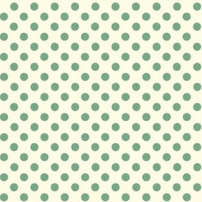 Dolly Dots Dustygreen Large Offwhite