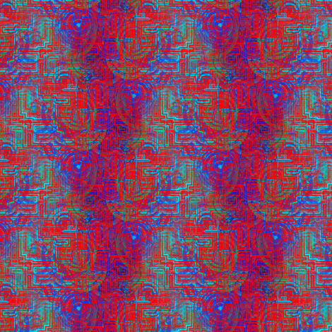 ELECTRICAL CIRCUITS red blue fabric by paysmage on Spoonflower - custom fabric