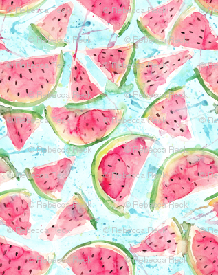 Fresh Watermelons - watercolor