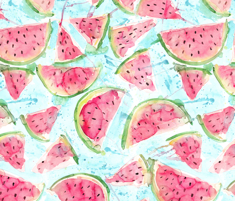 Fresh Watermelons - watercolor fabric by rebecca_reck_art on Spoonflower - custom fabric
