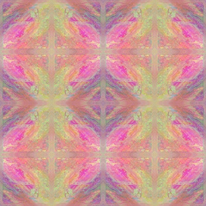 ROUNDED DIAMONDS TILES SWEET SPRING SUNRISE MARBLED IN PINK AND GREEN