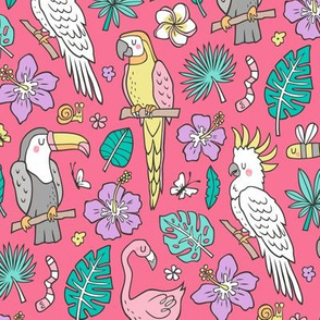 Summer Tropical Jungle Birds Toucan Flamingo and Hibiscus Floral Flowers Leaves Paradise  on Red Pink