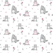 Cute raccoon seamless pattern on white background
