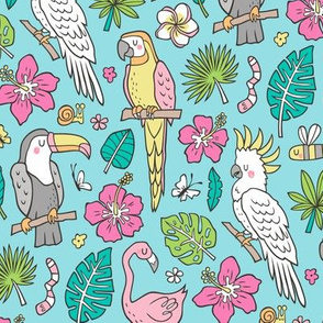Summer Tropical Jungle Birds Toucan Flamingo and Hibiscus Floral Flowers Leaves Paradise Blue