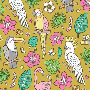 Summer Tropical Jungle Birds Toucan Flamingo and Hibiscus Floral Flowers Leaves Paradise Mustard Yellow