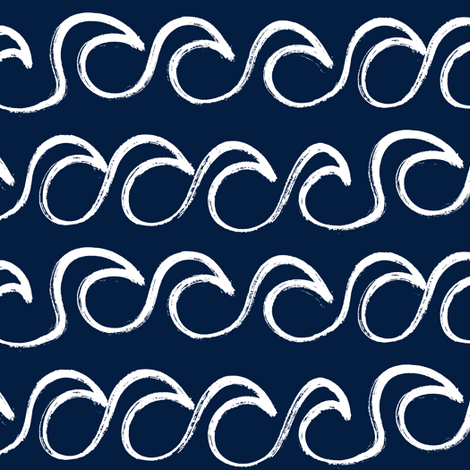 waves on navy fabric by littlearrowdesign on Spoonflower - custom fabric