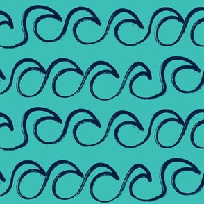 waves - navy on teal